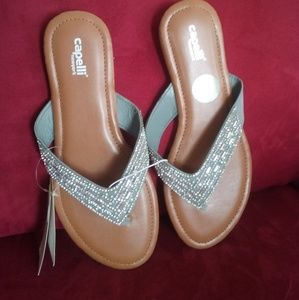 capelli Shoes - NWT Silver Bead Flip Flops